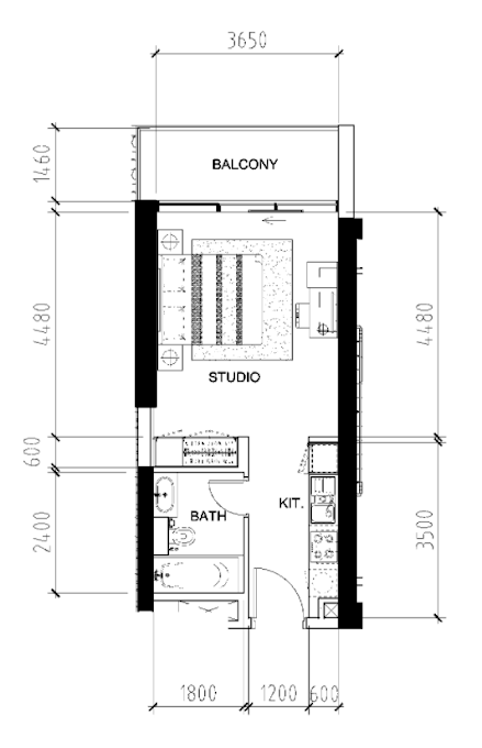 Planning of the apartment Studios, 415 in Bellavista, Dubai