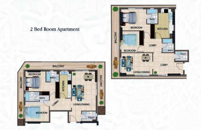 Planning of the apartment 2BR, 1318.2 in Arabian Gate Apartments, Dubai
