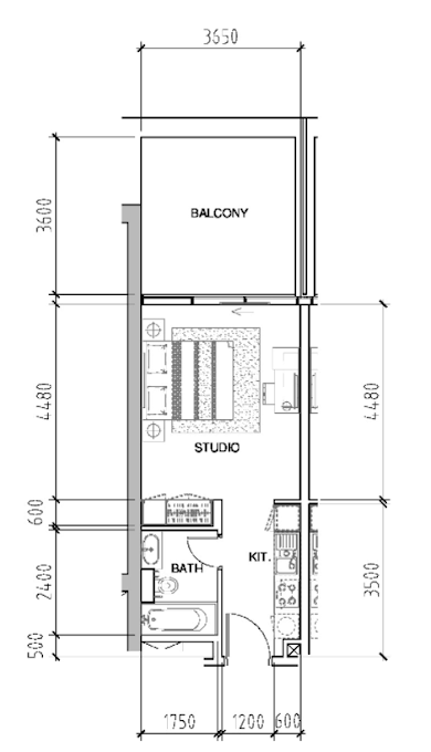 Planning of the apartment Studios, 502 in Bellavista, Dubai