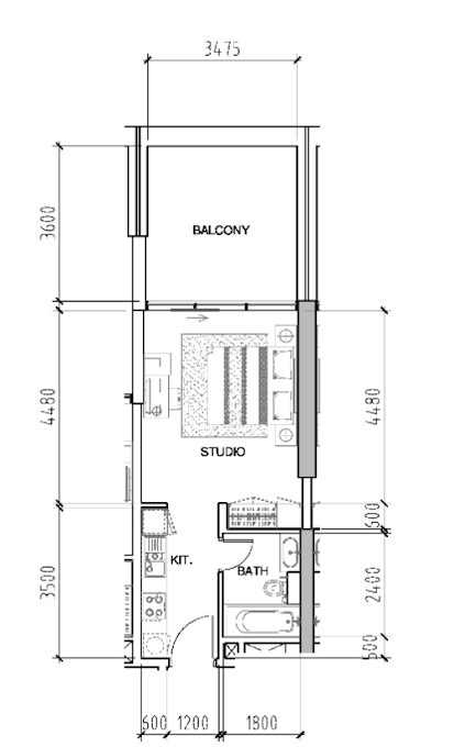 Planning of the apartment Studios, 507 in Bellavista, Dubai