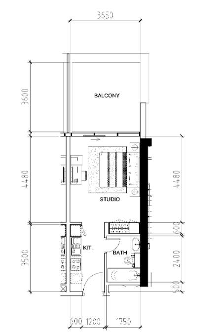 Planning of the apartment Studios, 509 in Bellavista, Dubai