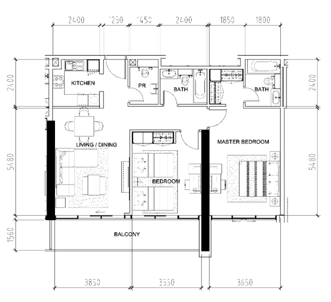 Planning of the apartment 2BR, 1159 in Bellavista, Dubai