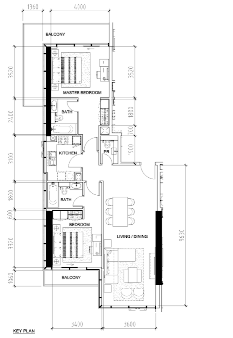 Planning of the apartment 2BR, 1327 in Bellavista, Dubai