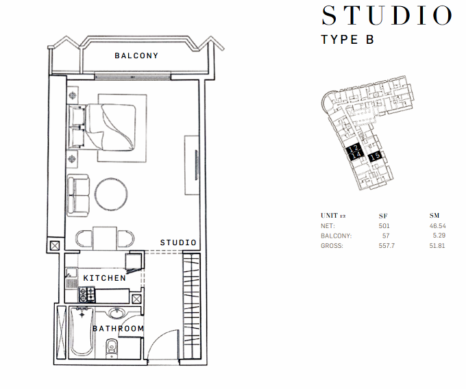 Planning of the apartment Studios, 557.7 in AG Tower Business Bay, Dubai