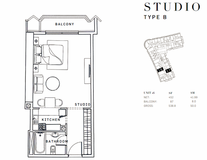 Planning of the apartment Studios, 538.8 in AG Tower Business Bay, Dubai