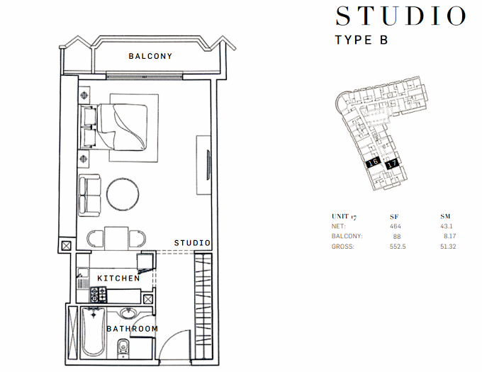 Planning of the apartment Studios, 552.5 in AG Tower Business Bay, Dubai