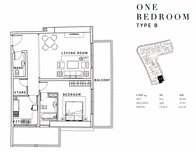 Planning of the apartment 1BR, 1210.9 in AG Tower Business Bay, Dubai
