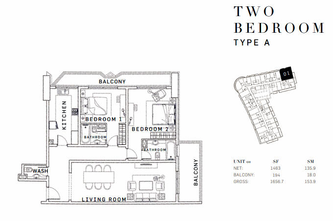 Planning of the apartment 2BR, 1656.7 in AG Tower Business Bay, Dubai