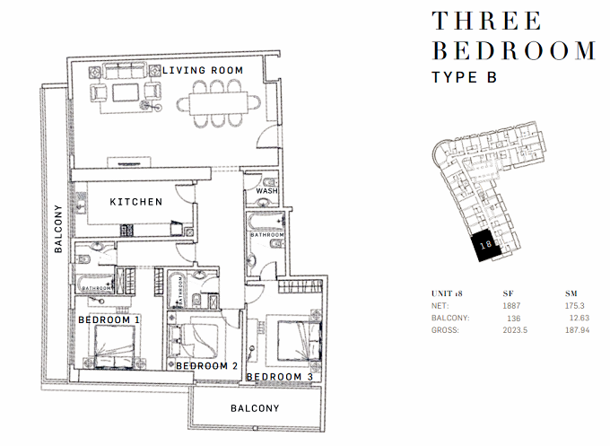 Planning of the apartment 3BR, 2023.5 in AG Tower Business Bay, Dubai