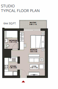 Planning of the apartment Studios, 644 in Hartland Aflux Apartments, Dubai