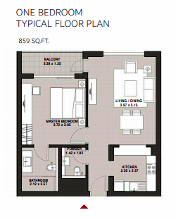 Planning of the apartment 1BR, 859 in Hartland Aflux Apartments, Dubai