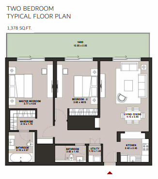 Planning of the apartment 2BR, 1378 in Hartland Aflux Apartments, Dubai
