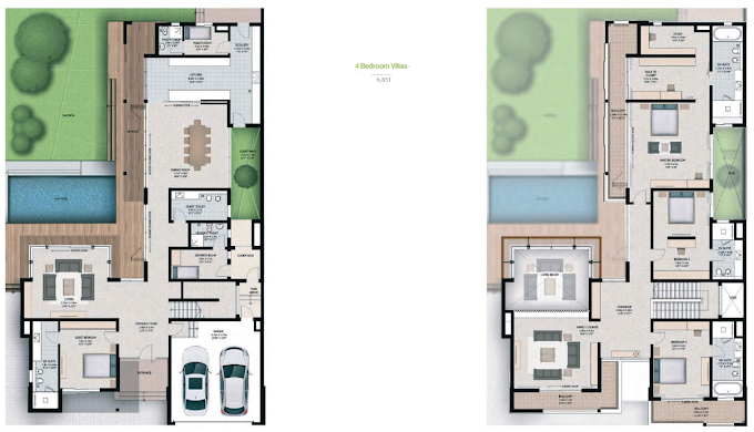 Planning of the apartment 4BR, 6851 in Sobha Hartland Villas, Dubai