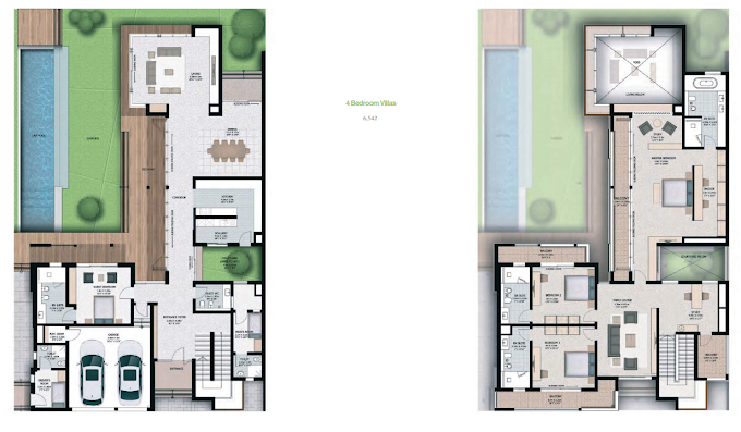 Planning of the apartment 4BR, 6542 in Sobha Hartland Villas, Dubai