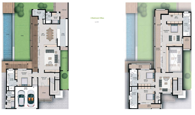 Planning of the apartment 4BR, 6393 in Sobha Hartland Villas, Dubai