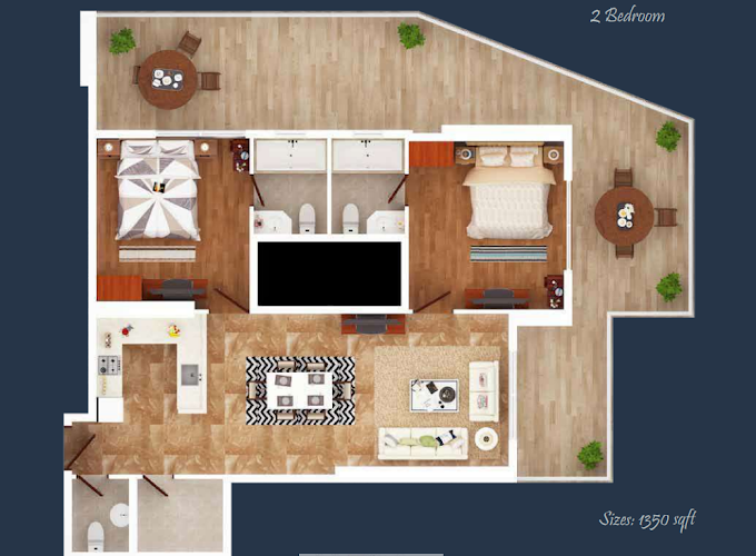 Planning of the apartment 2BR, 1350 in Elite Downtown, Dubai