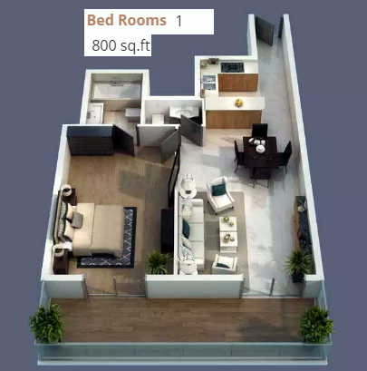 Planning of the apartment 1BR, 800 in Elite Business Bay, Dubai