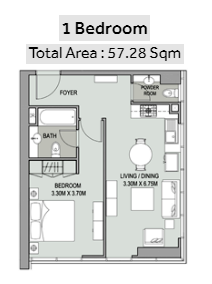 Planning of the apartment 1BR, 616 in Bellevue Towers, Dubai