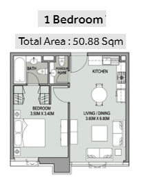 Planning of the apartment 1BR, 547 in Bellevue Towers, Dubai