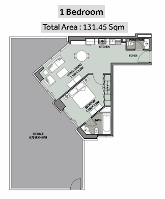 Planning of the apartment 1BR, 1415 in Bellevue Towers, Dubai