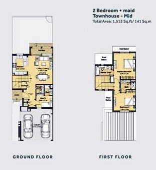 Planning of the apartment Villas 2BR, 1513 in Casa Dora Townhouses at Serena, Dubai