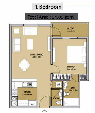 Planning of the apartment 1BR, 689 in Remraam Apartments, Dubai