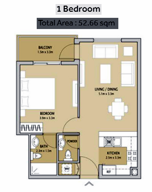 Planning of the apartment 1BR, 567 in Remraam Apartments, Dubai