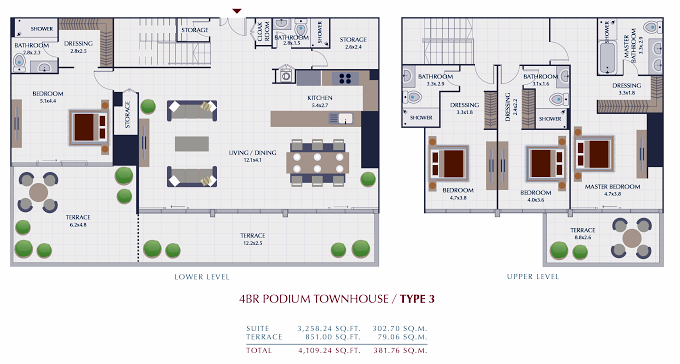 Planning of the apartment Villas 4BR, 4109.24 in Park Gate Residences, Dubai