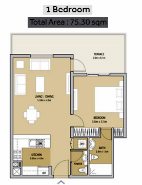 Planning of the apartment 1BR, 810 in Remraam Apartments, Dubai