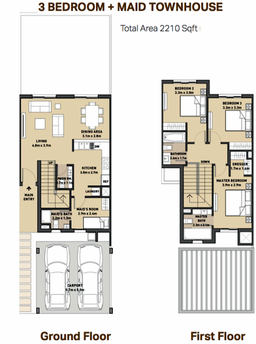Planning of the apartment Townhouse, 2210 in Mudon Views, Dubai