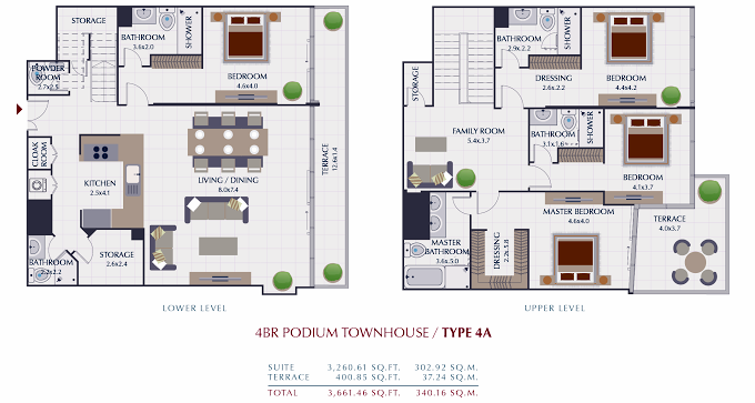 Planning of the apartment Townhouses 4BR, 3661.42 in Park Gate Residences, Dubai