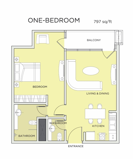 Planning of the apartment 1BR, 797 in Seven City, Dubai