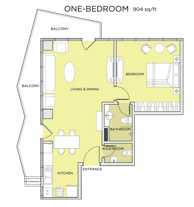 Planning of the apartment 1BR, 904 in Seven City, Dubai