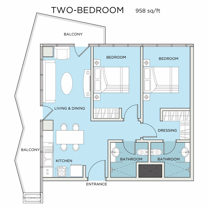 Planning of the apartment 2BR, 958 in Seven City, Dubai