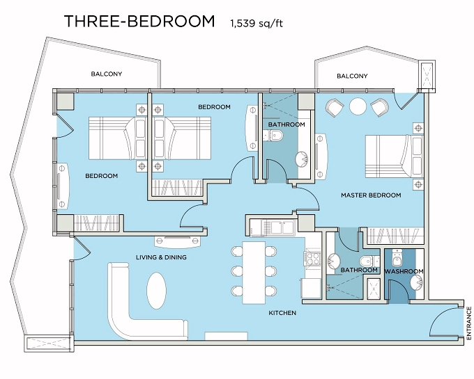 Planning of the apartment 3BR, 1539 in Seven City, Dubai