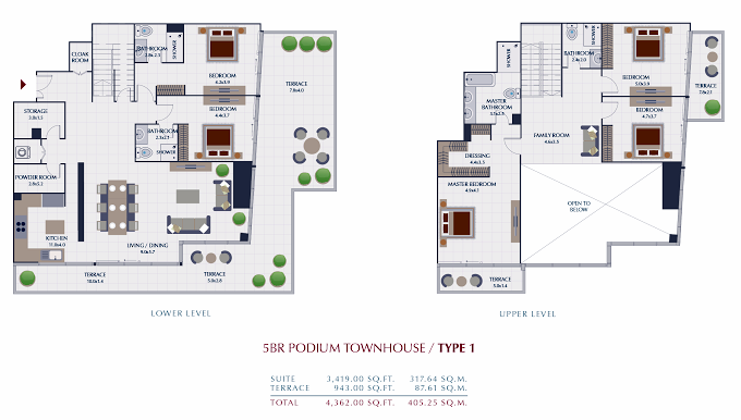 Planning of the apartment Villas 5BR, 4362 in Park Gate Residences, Dubai
