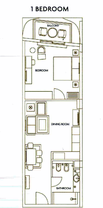 Planning of the apartment 1BR, 520 in The Residences at Ibn Battuta Gate, Dubai