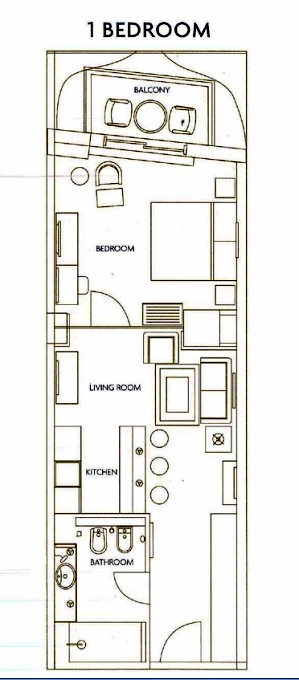 Planning of the apartment 1BR, 964 in The Residences at Ibn Battuta Gate, Dubai