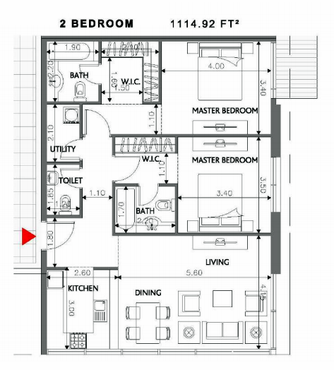 Planning of the apartment 2BR, 1114.92 in Soho Square Apartments, Abu Dhabi