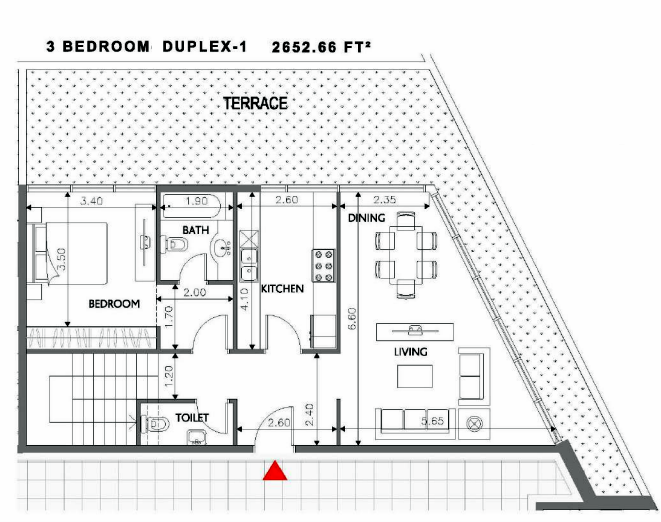 Planning of the apartment Duplexes, 2652.66 in Soho Square Apartments, Abu Dhabi