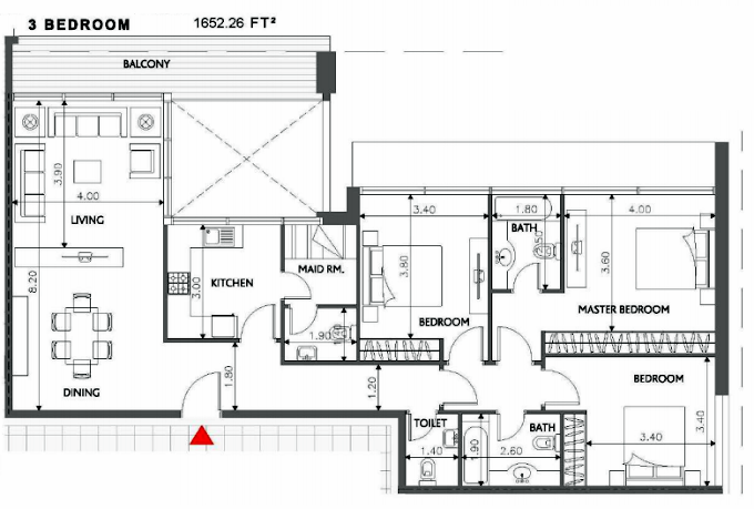 Planning of the apartment 3BR, 1652.26 in Soho Square Apartments, Abu Dhabi