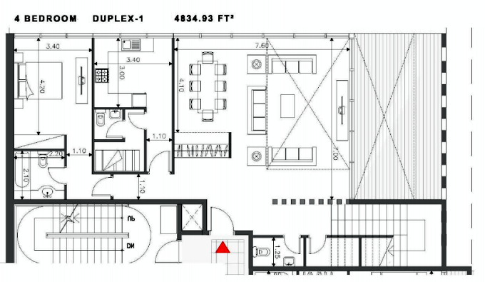 Planning of the apartment Duplexes, 4834.93 in Soho Square Apartments, Abu Dhabi