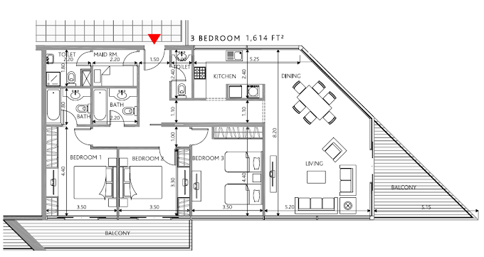 Planning of the apartment 3BR, 1614 in Park View Residences Apartments, Abu Dhabi