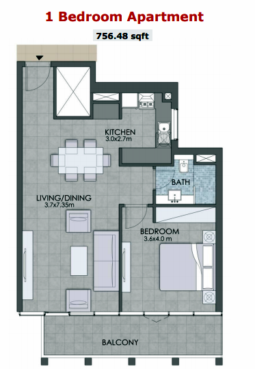 Planning of the apartment 1BR, 756 in Bloom Towers, Dubai