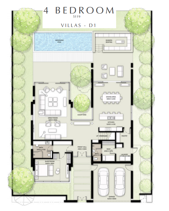 Planning of the apartment 4BR, 5119 in Golf Place Villas, Dubai