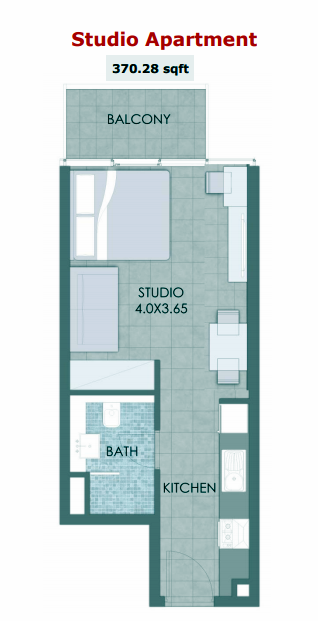Planning of the apartment Studio, 370.28 in Bloom Towers, Dubai