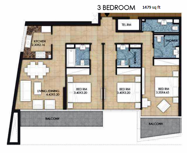 Planning of the apartment 3BR, 1479 in Bloom Heights, Dubai