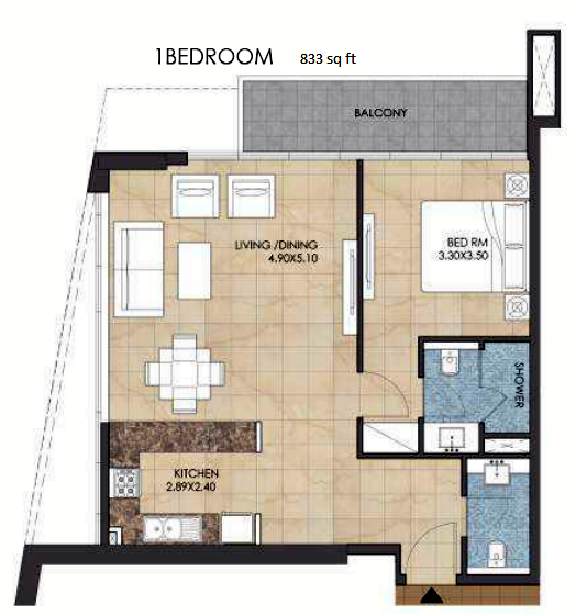 Planning of the apartment 1BR, 833 in Bloom Heights, Dubai