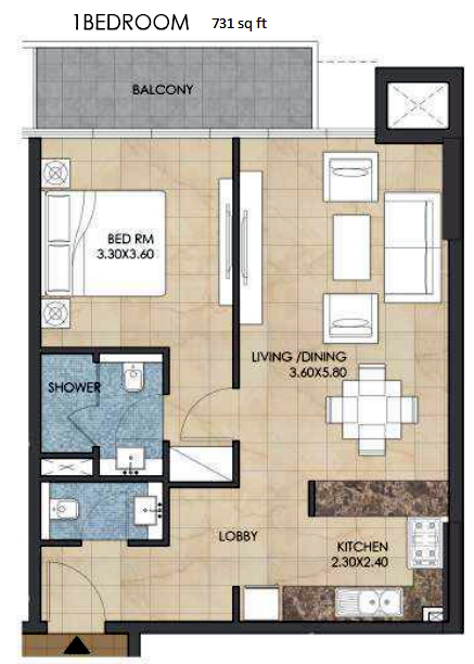 Planning of the apartment 1BR, 731 in Bloom Heights, Dubai