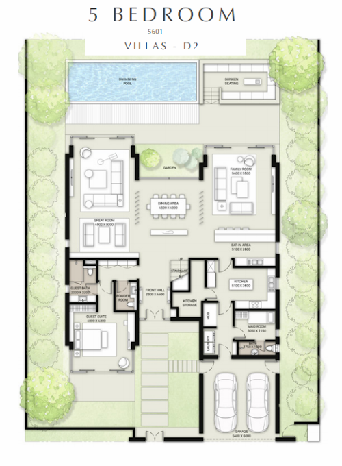 Planning of the apartment 5BR, 5601 in Golf Place Villas, Dubai